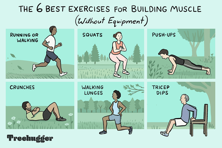color illustration of six people doing six individual workouts outside that don't require equipment