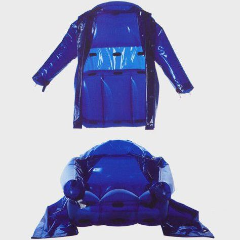 C.P. Company's blue coat (top) converted to an armchair (bottom)