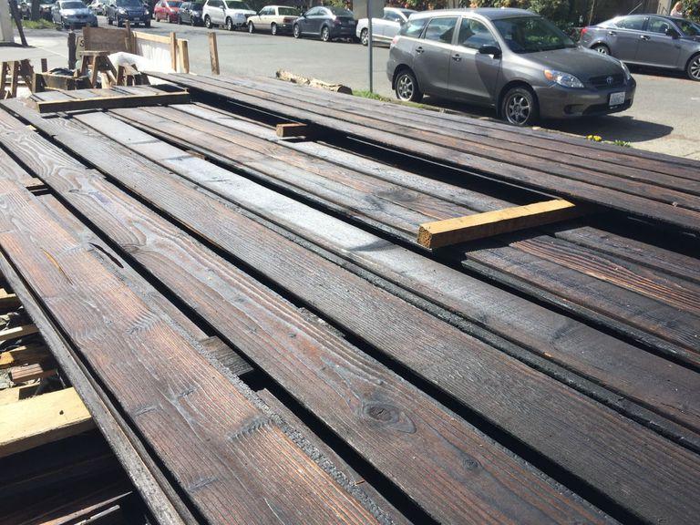 Panels of wood siding