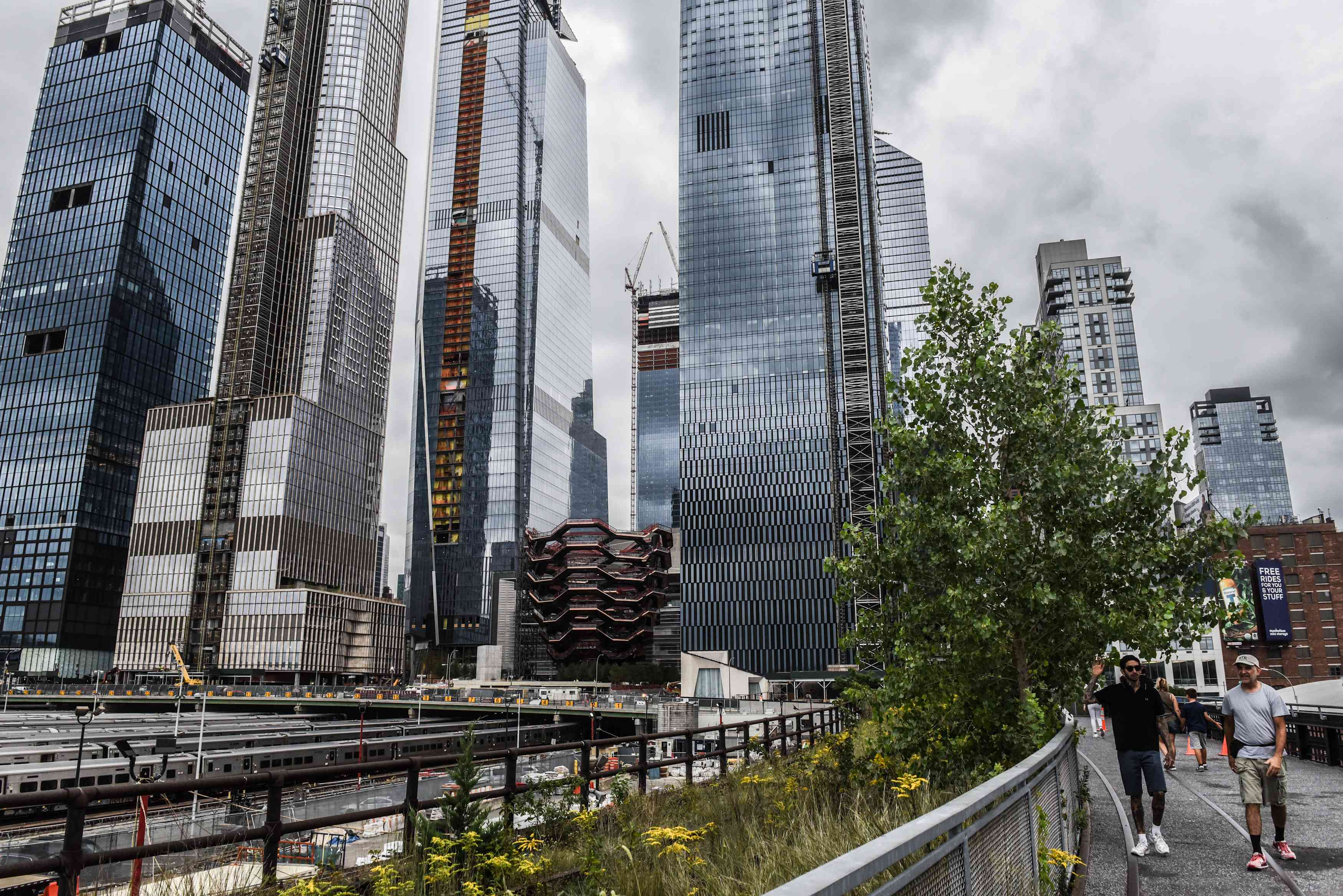 A view of Hudson Yards from the nearby High Line captured in the summer of 2018.