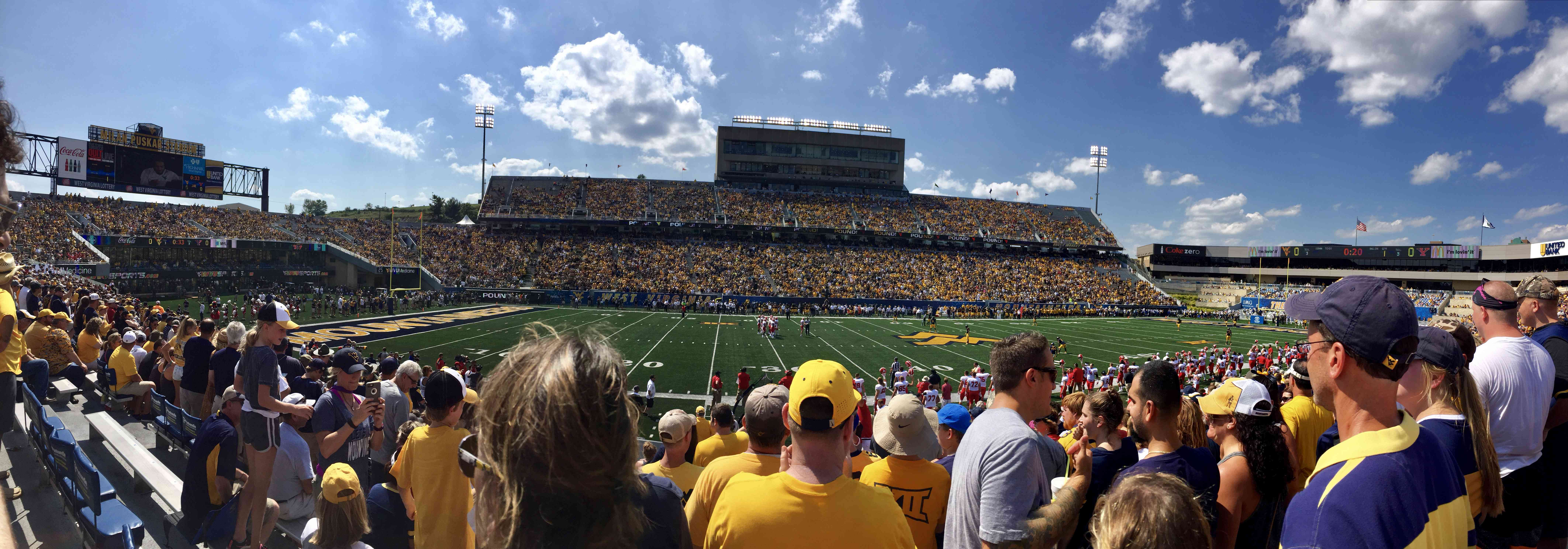 The town triples in size on game days to watch the WVU football team, which is part of the Big 12 conference.