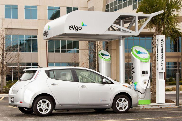 Nissan LEAF electric car at charging station