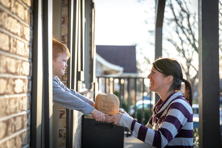 neighbors exchange bread