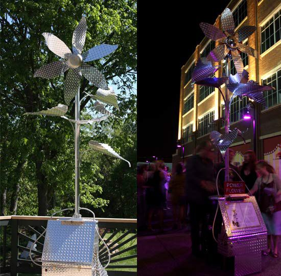 Side-by-side images of flower statues constructed out of solar panels