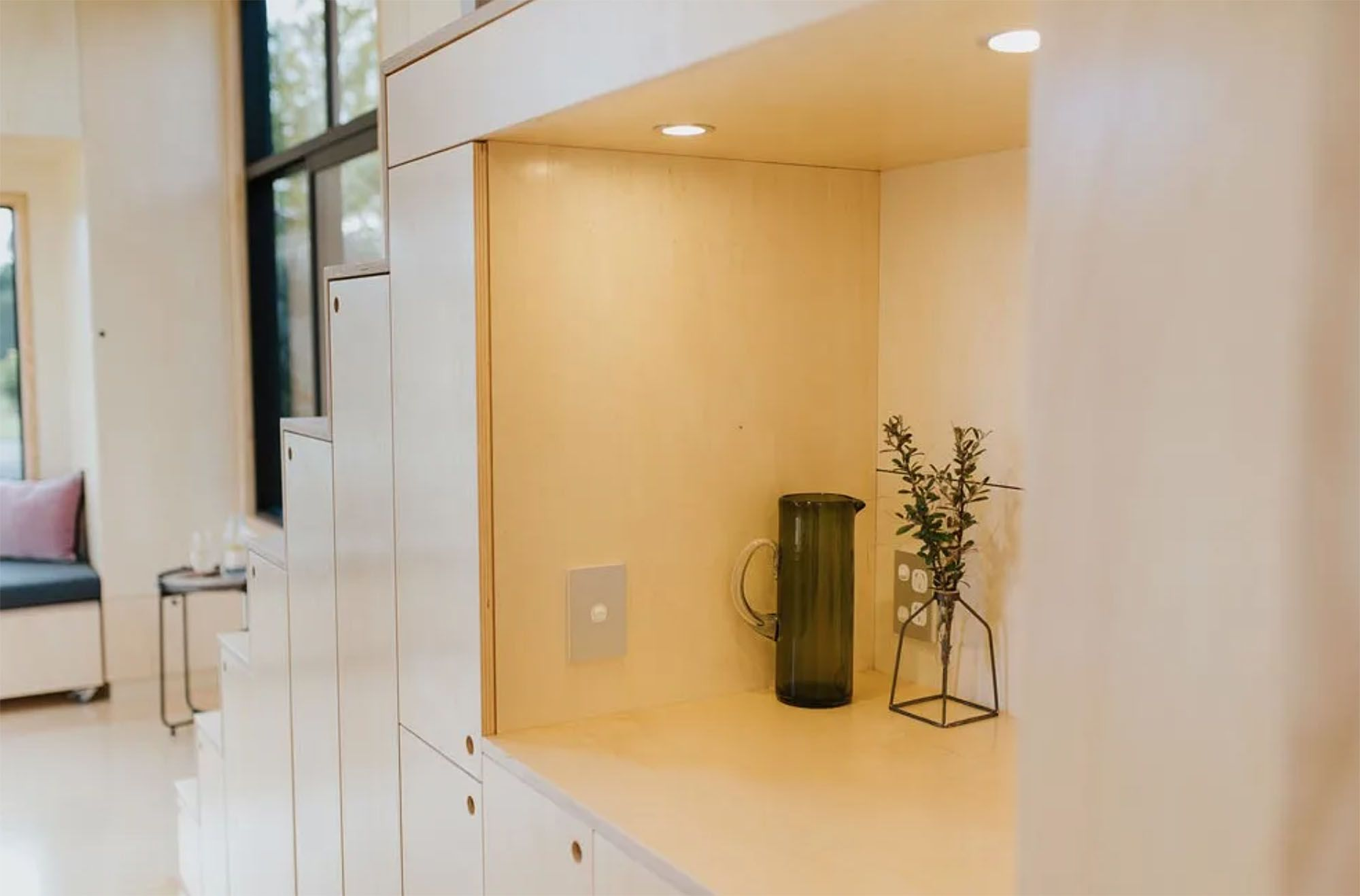 Ohariu tiny house by First Light Studio and Build Tiny kitchen nook