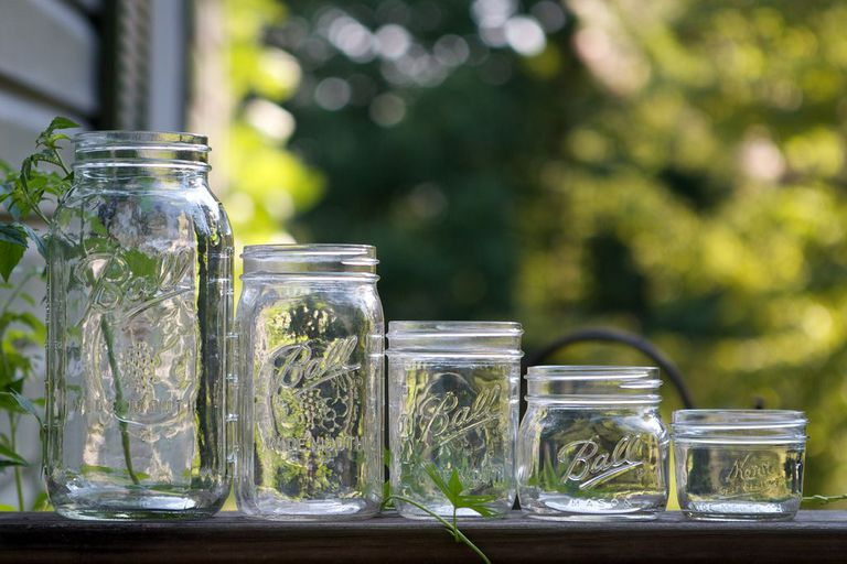 Different sized mason jars lined up
