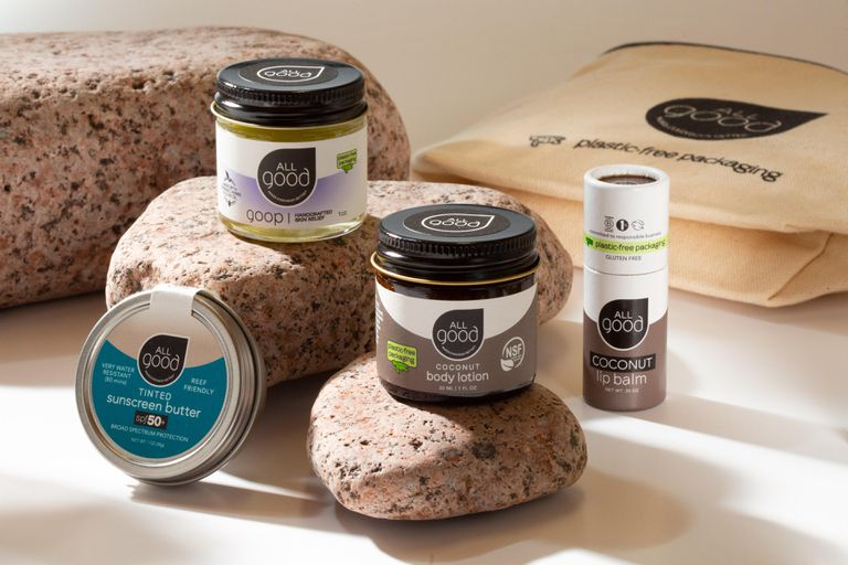 All Good products and plastic free packaging sitting on rocks.