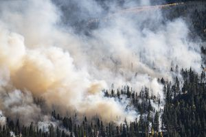 Forest fire creating large amounts of smoke