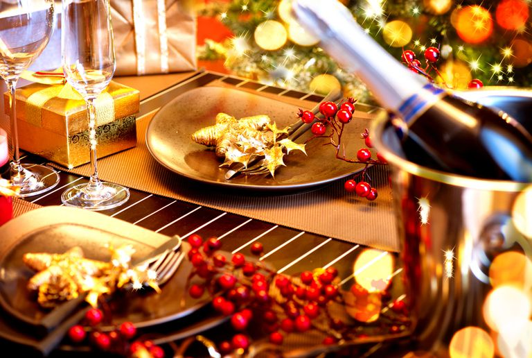 Table decorated for New Year's Eve