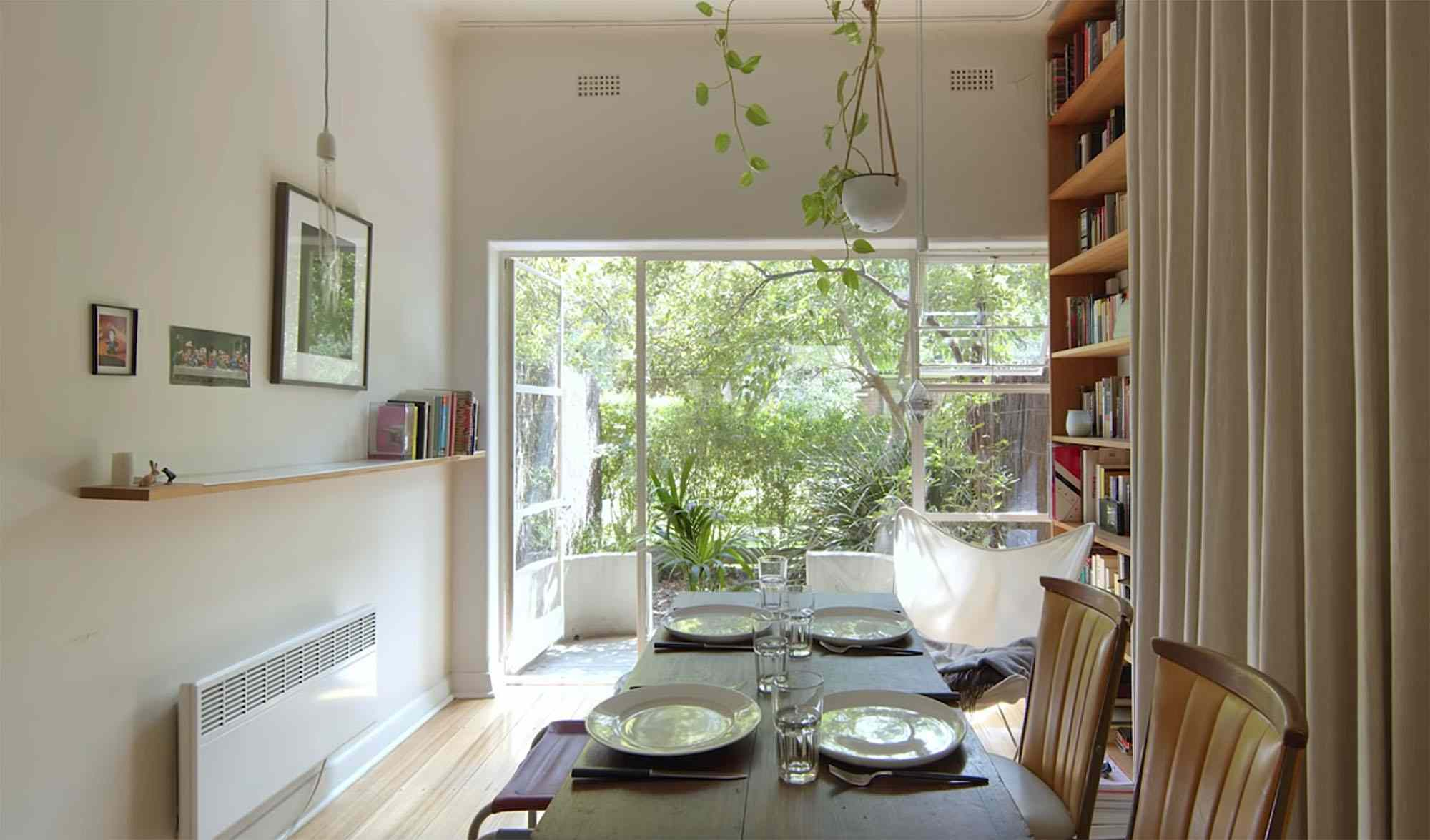 the purple rose of cairo micro-apartment renovation Architecture Architecture desk becomes dining table