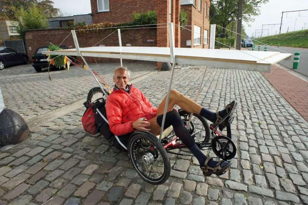Man sitting in his recumbant bike