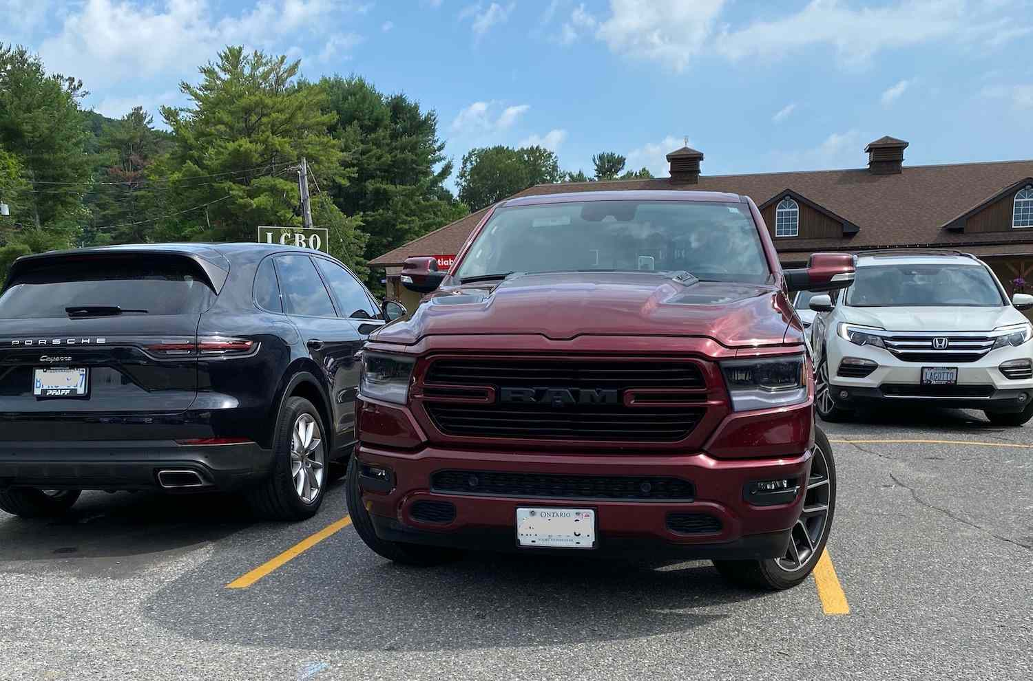 Pickups fill parking space