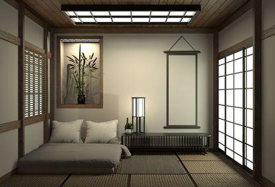 Japanese style minimalist bedroom
