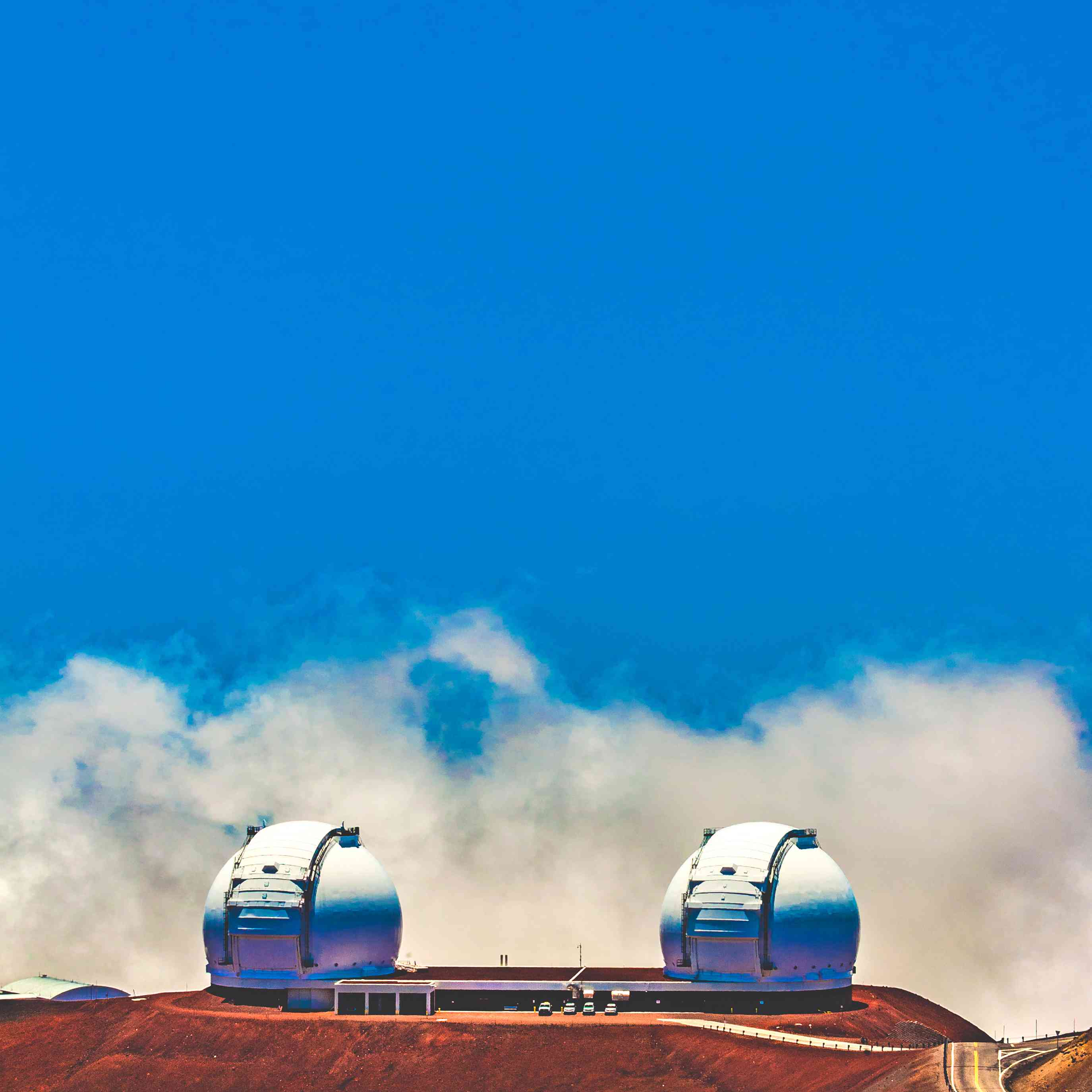 The twin telescopes of the Keck Observatory in Hawaii