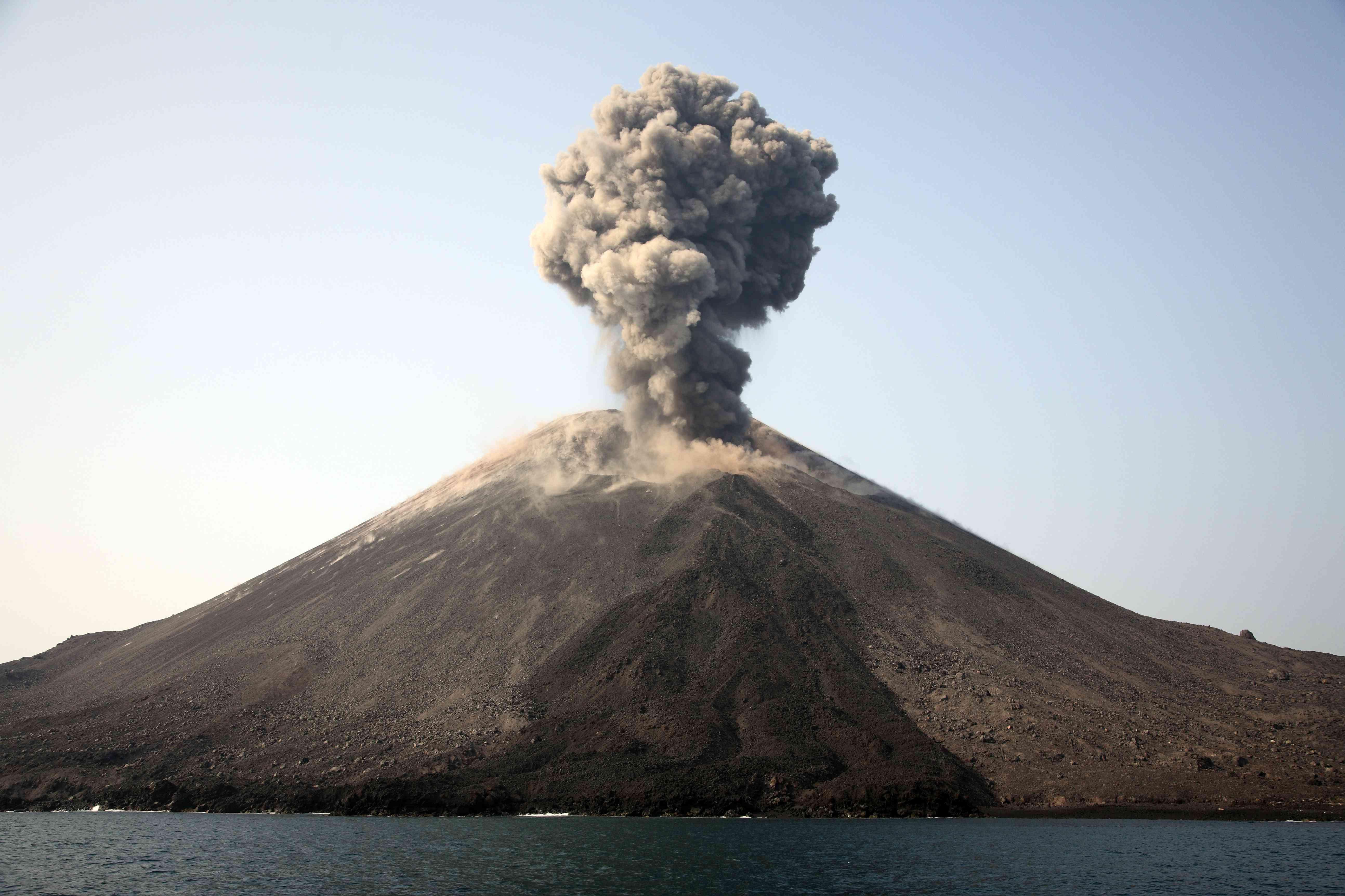 Anak Krakatau volcano erupting