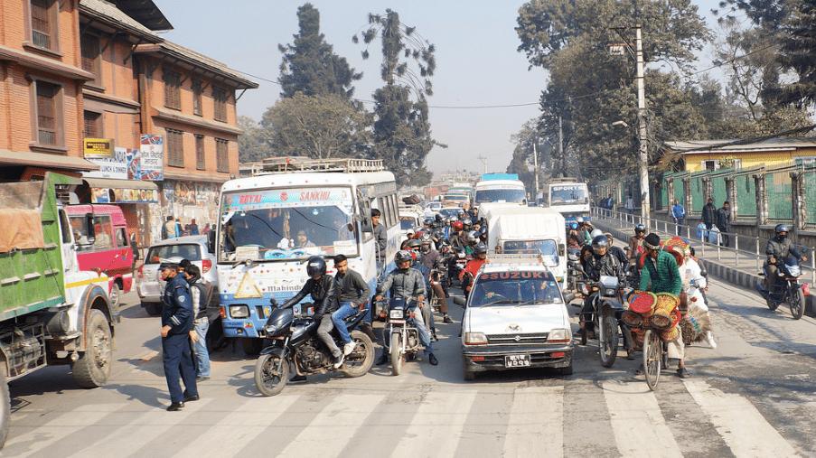 An intersection in Kathmandu, Nepal