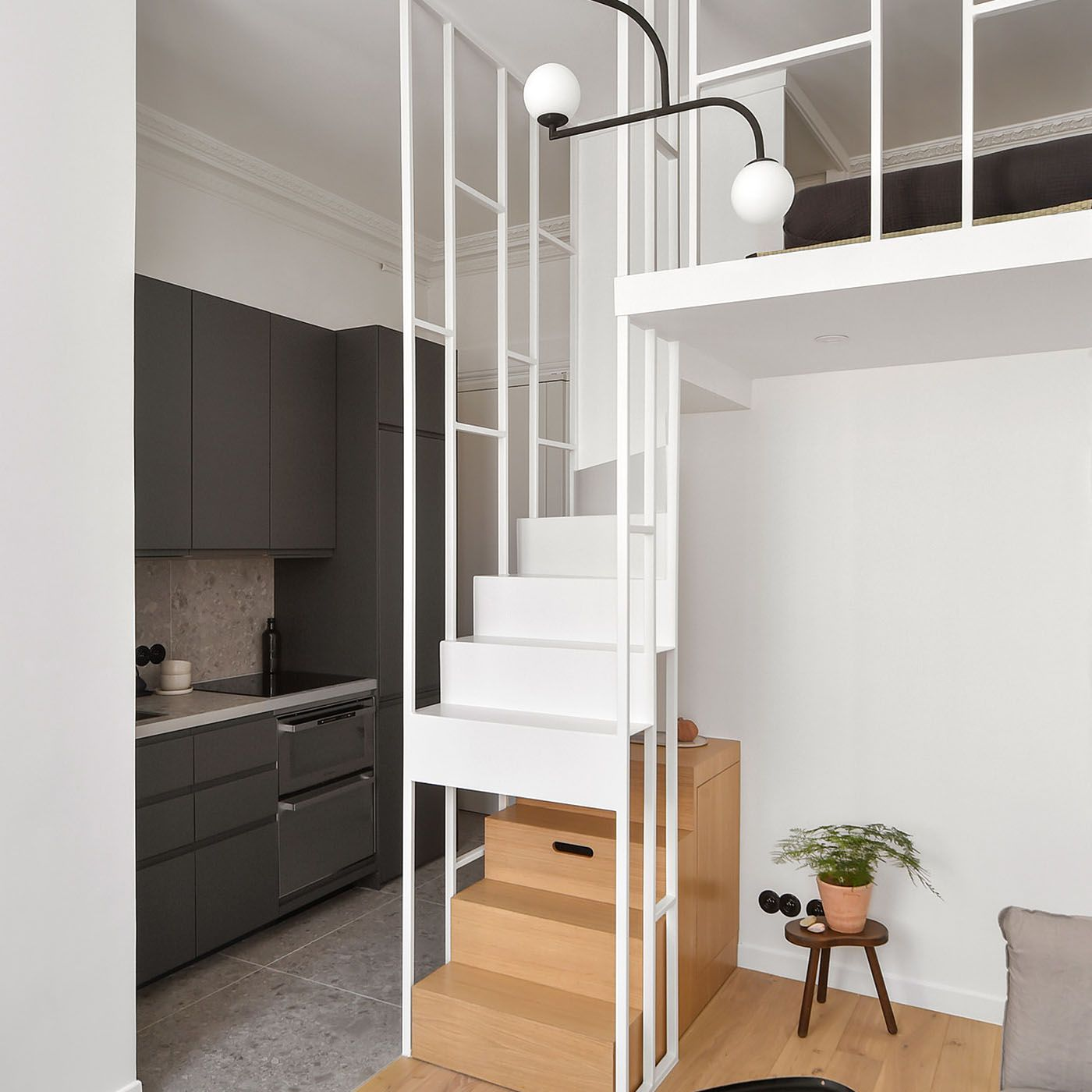 Boulevard Arago apartment renovation Studio Beau Faire staircase and kitchen