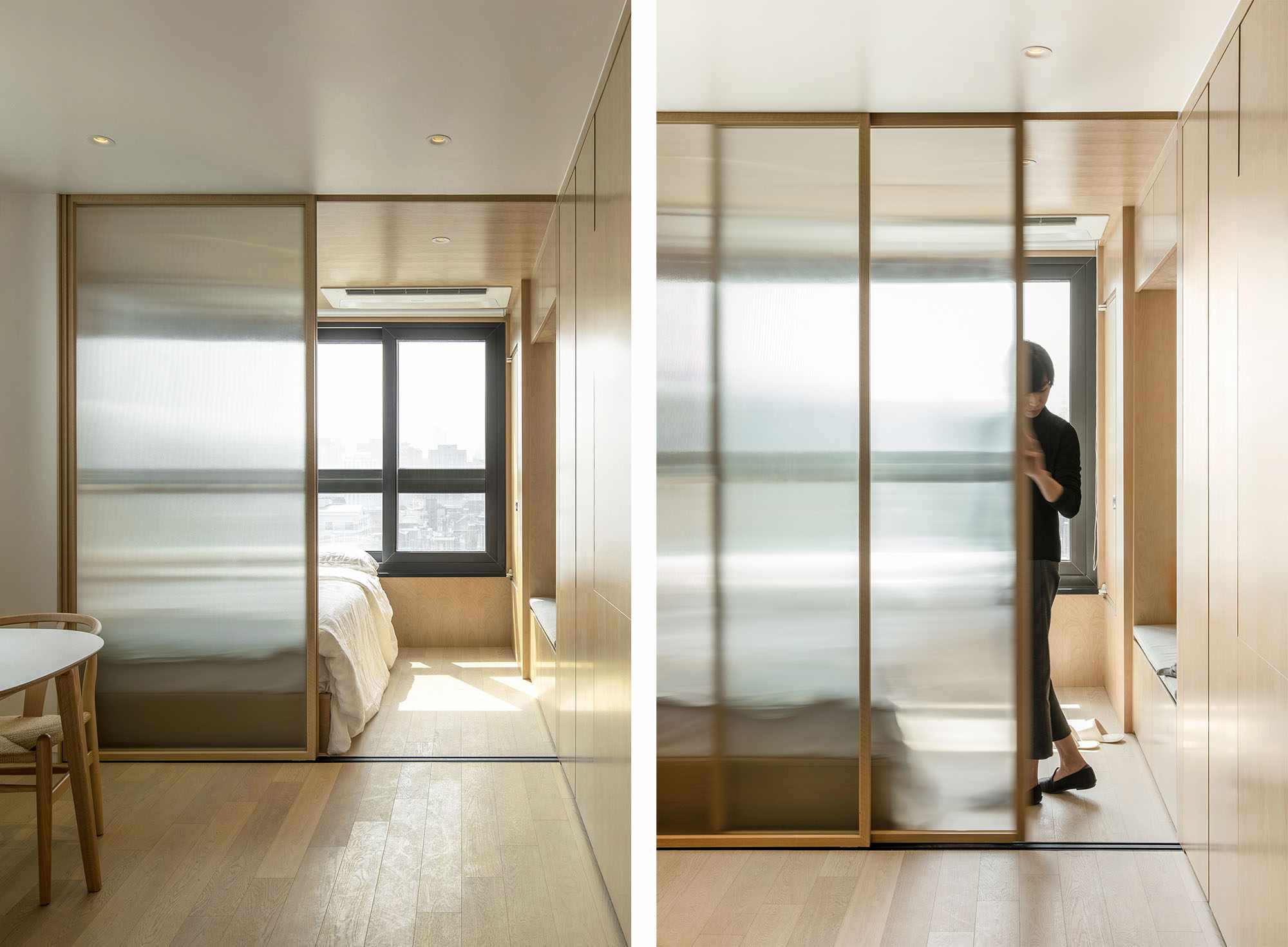 LIFE micro-apartments coliving Ian Lee sliding glass door