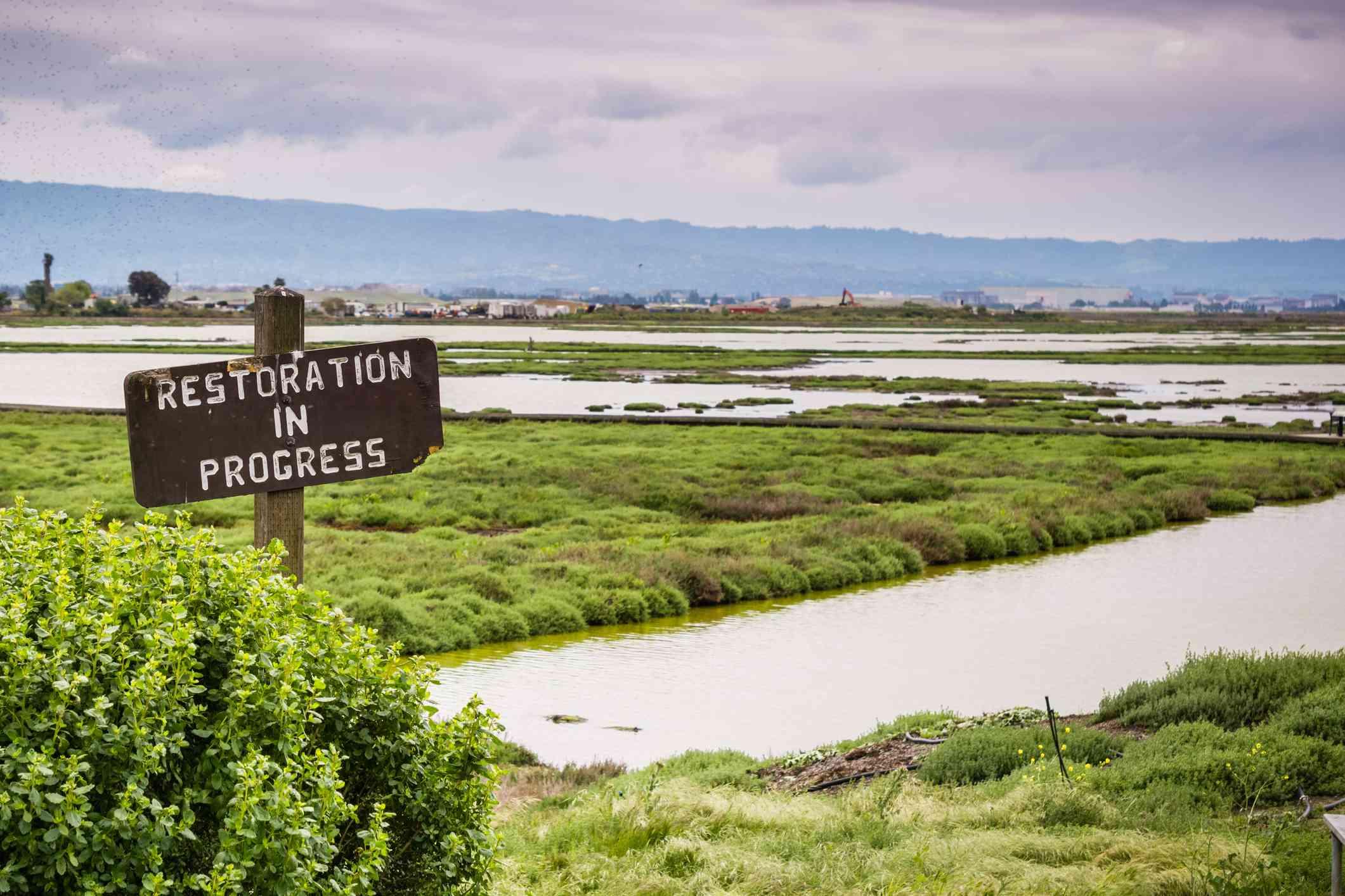 Restoration sign in the wetlands in Alviso Marsh, Don Edwards wildlife refuge, south San Francisco bay, California