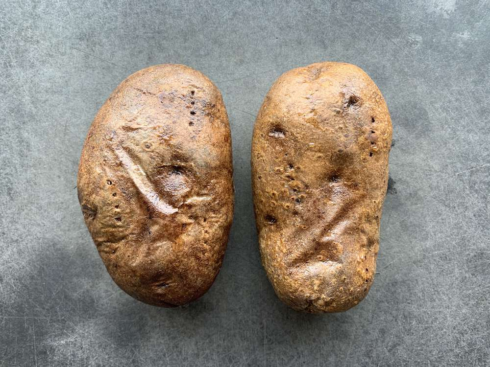 old baked potatoes