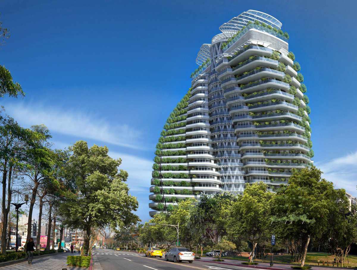 Rendering of Tao Zhu Yin Yuan, a sustainable apartment tower in Taipei