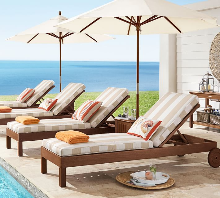 Pottery Barn Chatham FSC® Mahogany Chaise Lounge with Wheels