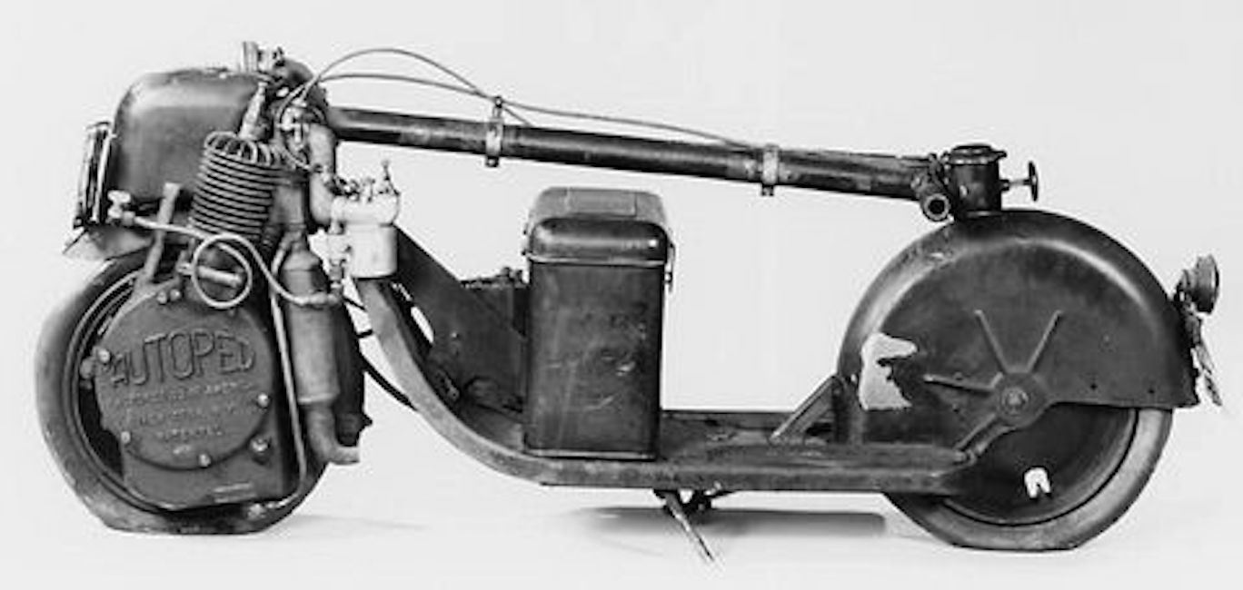 Folded down side view of an autoped scooter