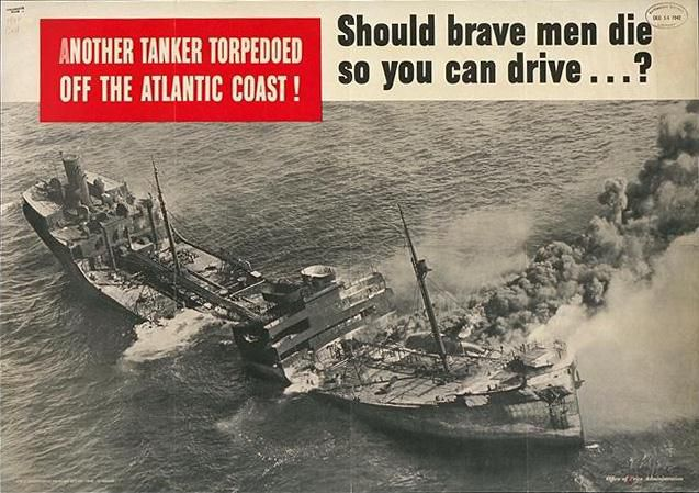 Black and white poster showing a damaged ship sinking