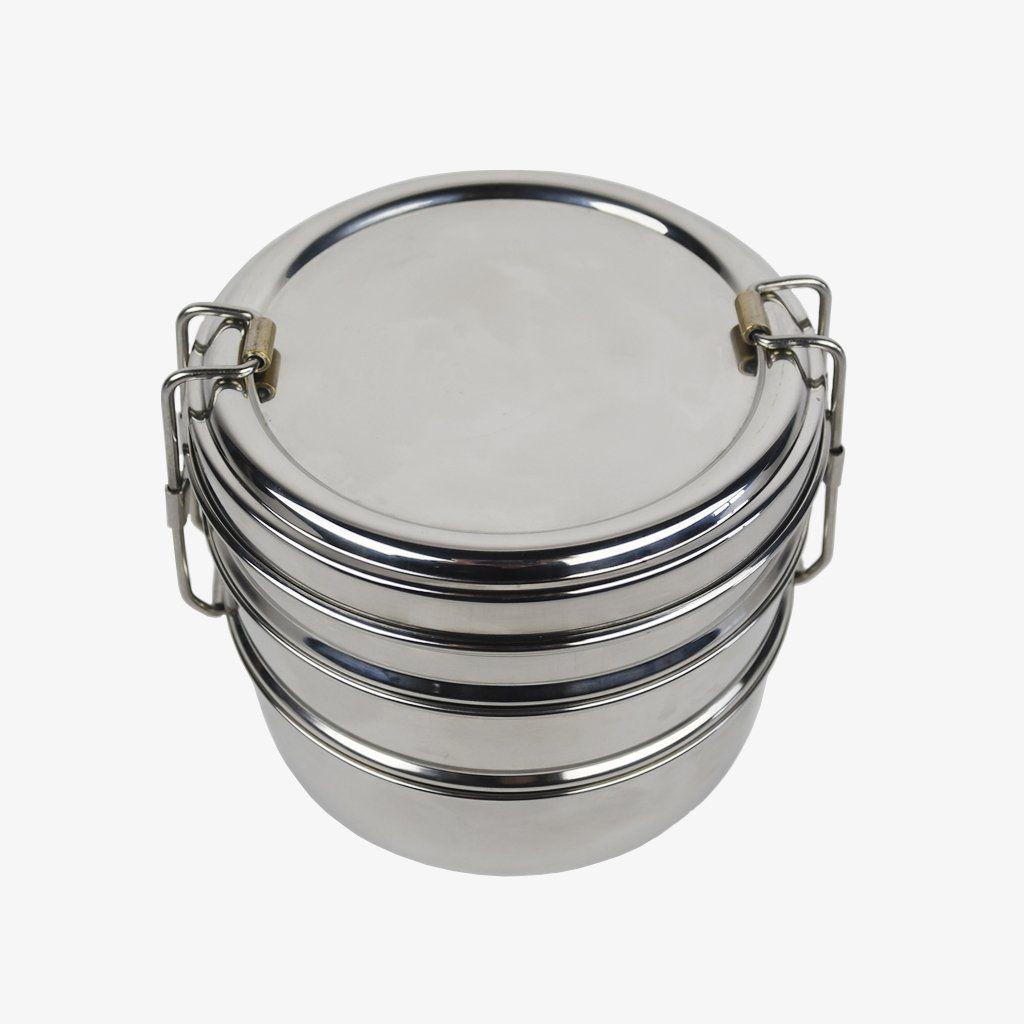Round Stainless Steel Tri-Bento