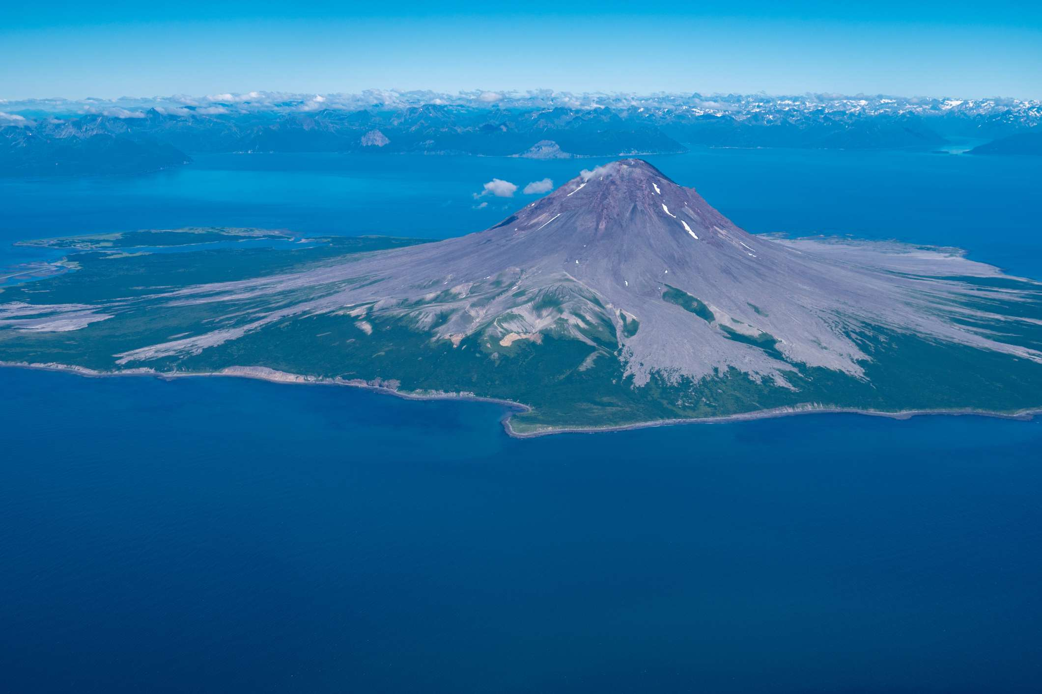 Aerial view of Augustine Volcano surrounded by water