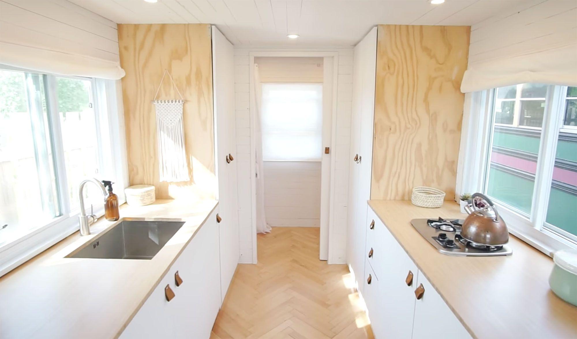 family of three diy tiny house transformer furniture kitchen