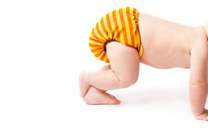 Baby in a cloth diaper