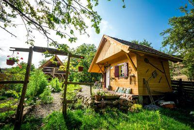 cabin in a garden