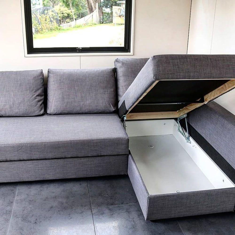 Sofa bed mid-conversion
