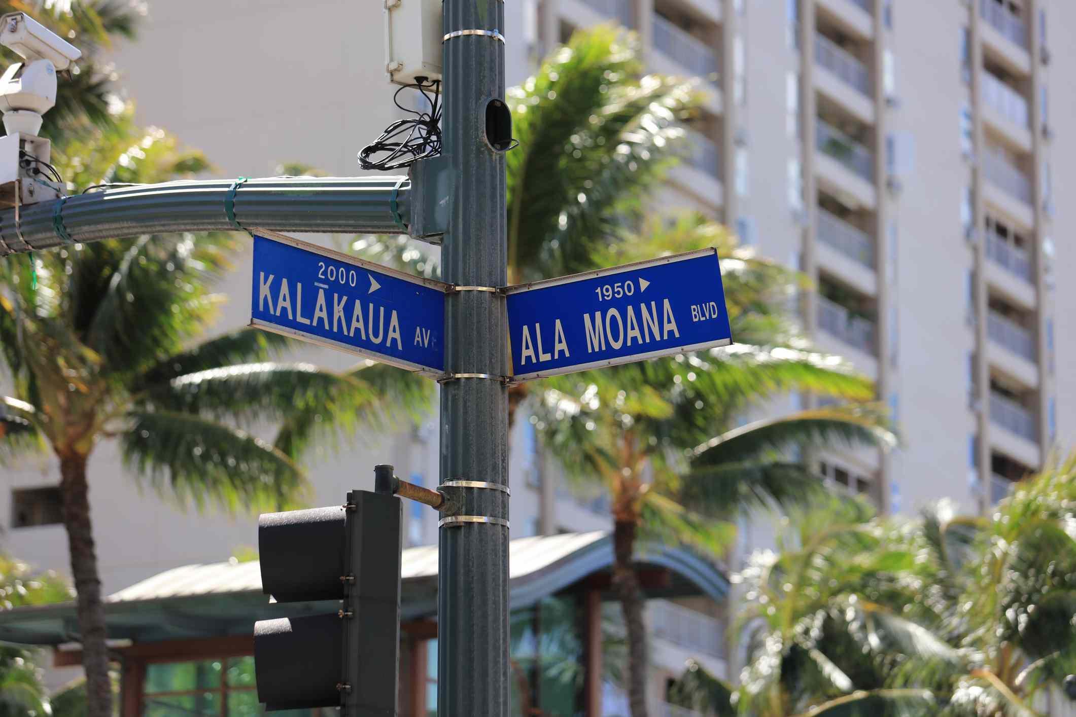 Crosswalk and street signs in Hawaii.
