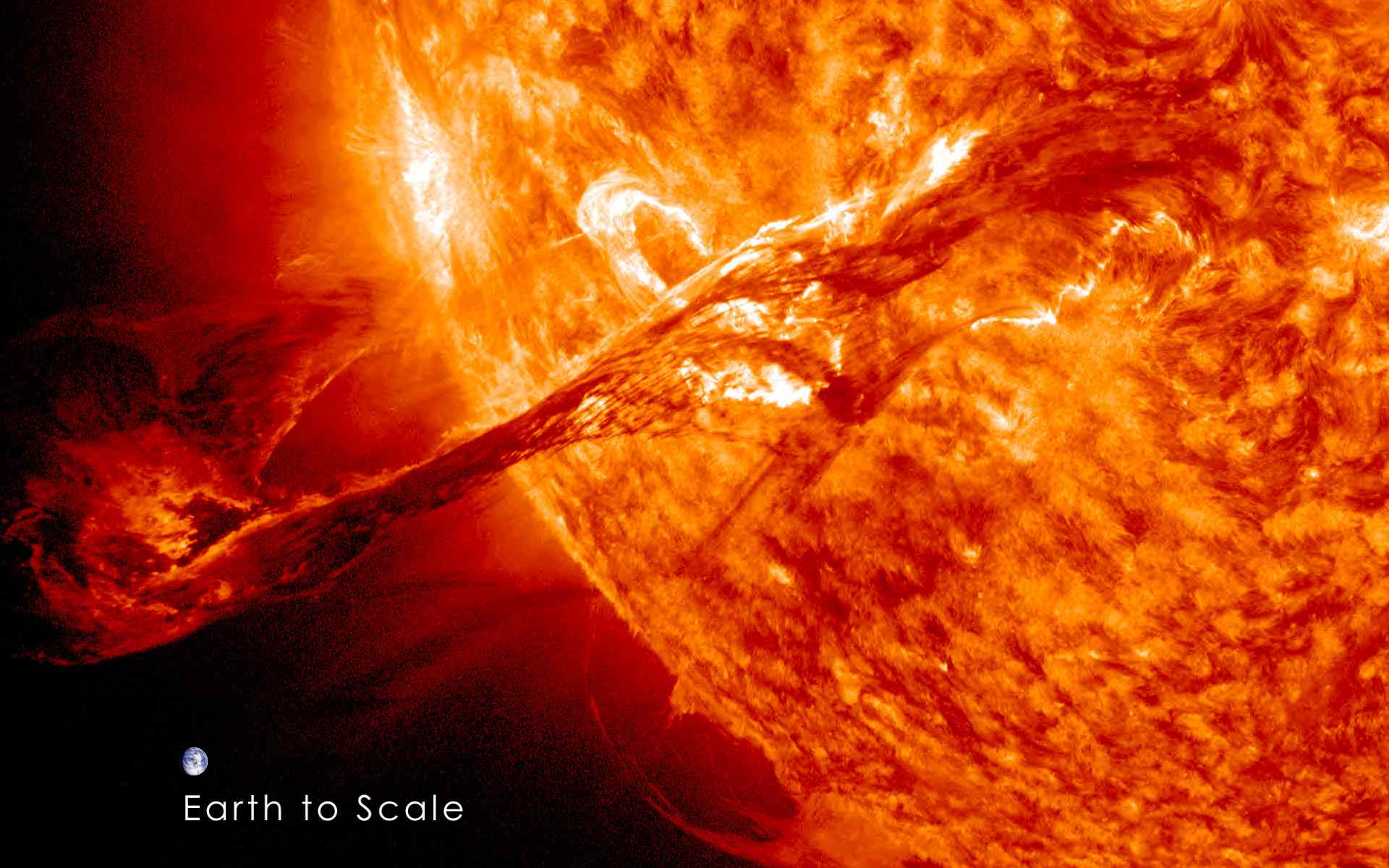 Closeup of a coronal mass ejection on the Sun.