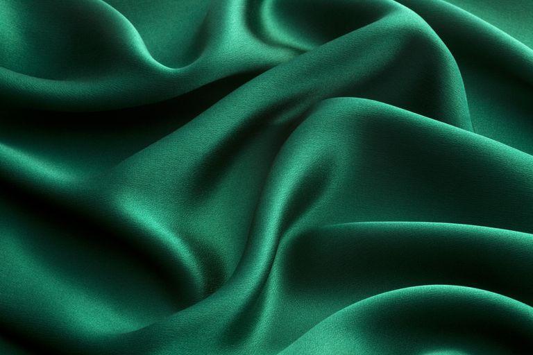 Green silk textile