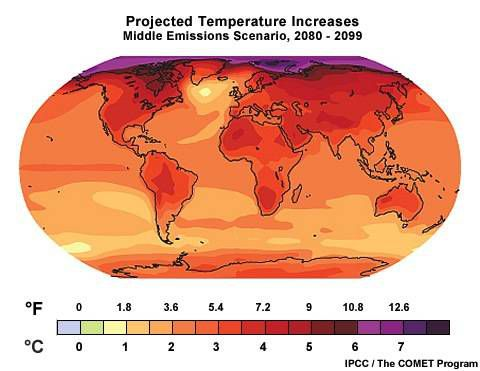 projected temperature increases