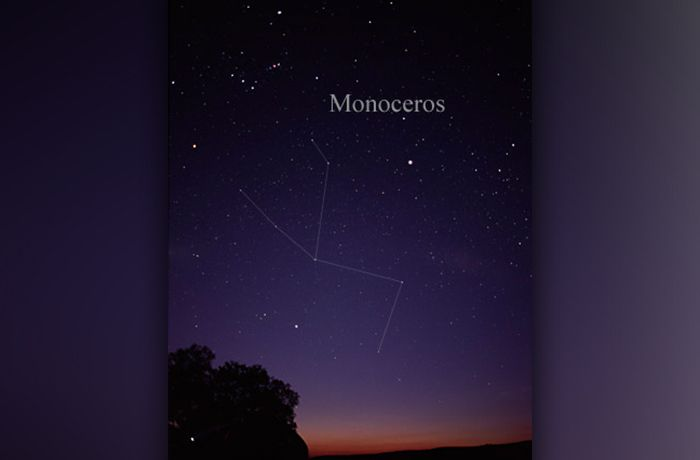 The constellation Monoceros, easily visible to the naked eye, lies to the right of the constellation Orion.