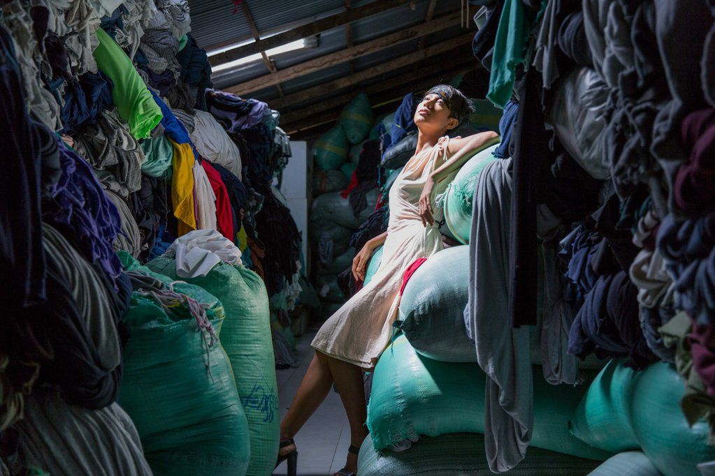 A look from the editorial shoot for Tonlé, demonstrating textile waste.
