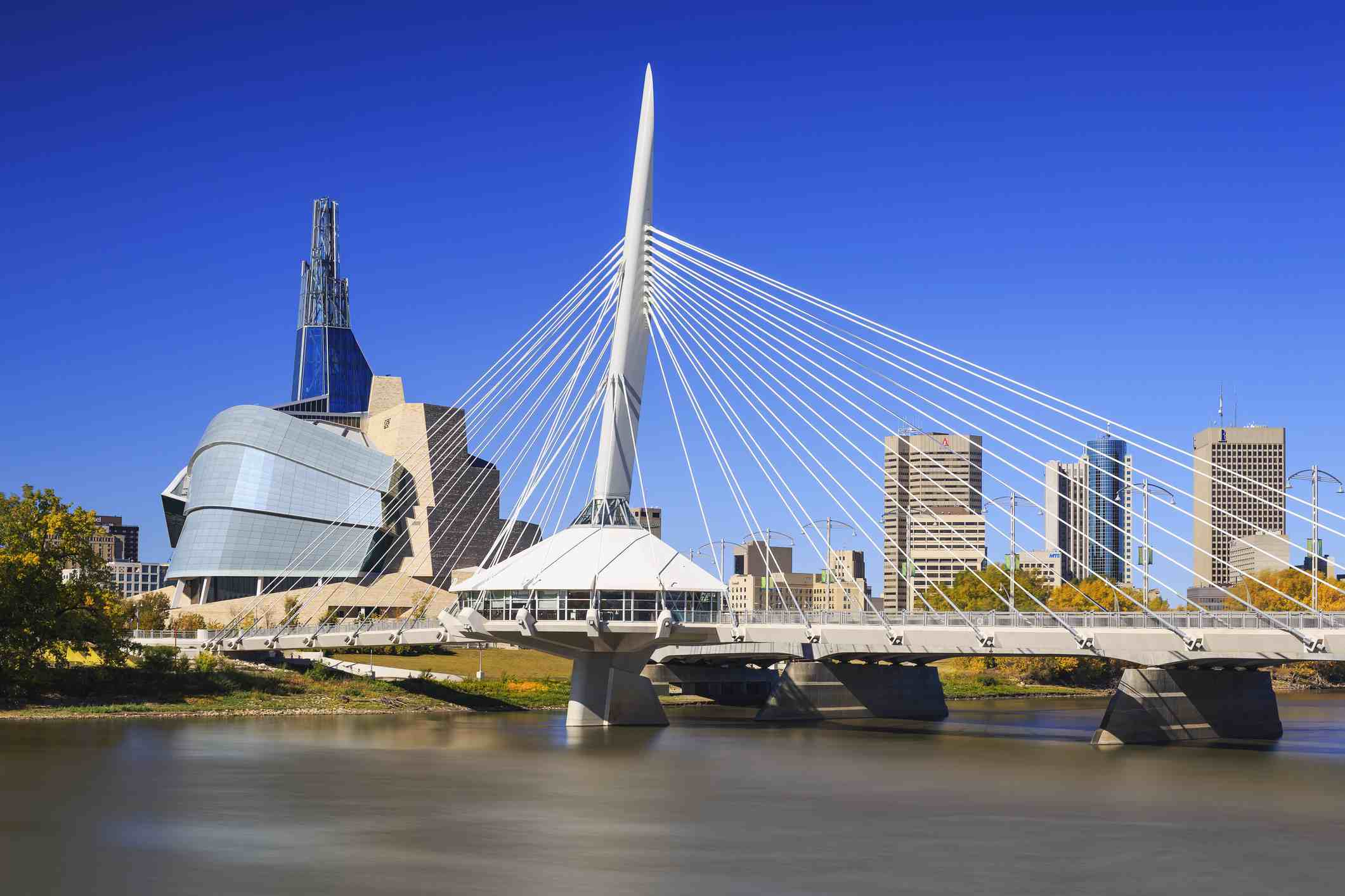 City skyline with Esplanade Riel bridge and Canadian Museum for Human Rights