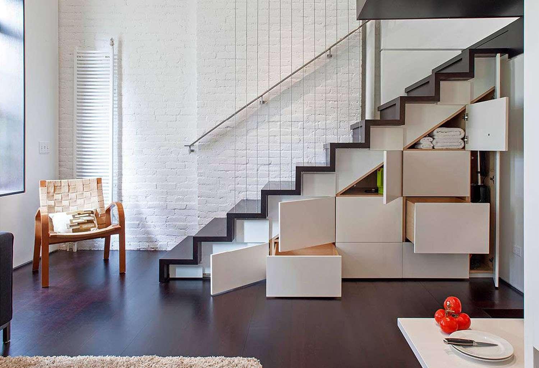 manhattan microloft specht architects stair case hidden storage
