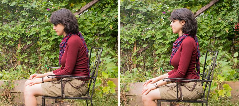 me sitting up straight before and after