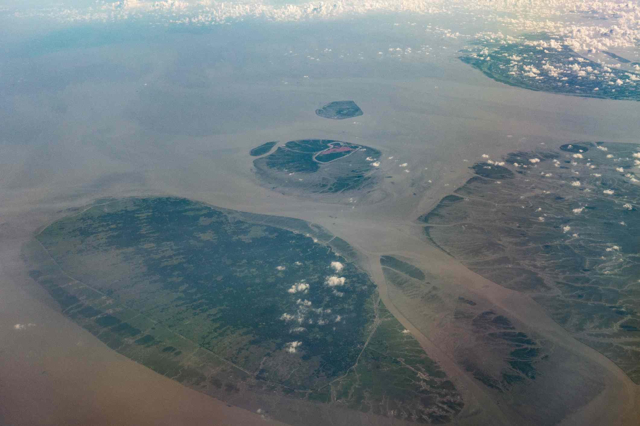 An aerial image of Char Piya, previously called Thengar Char, located in the Bay of Bengal,