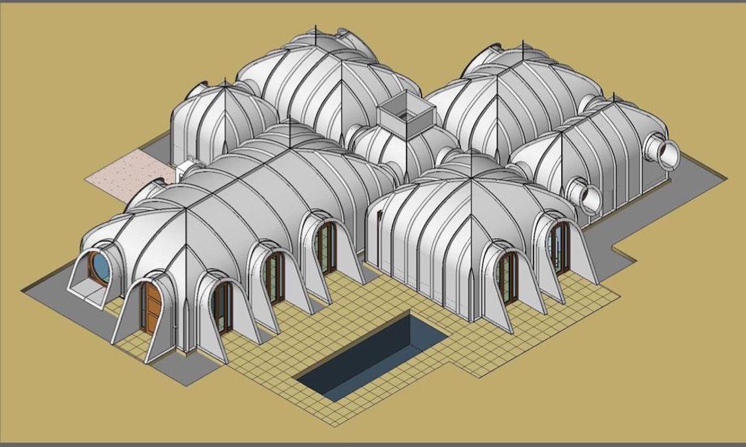 Digital plan of white module domes
