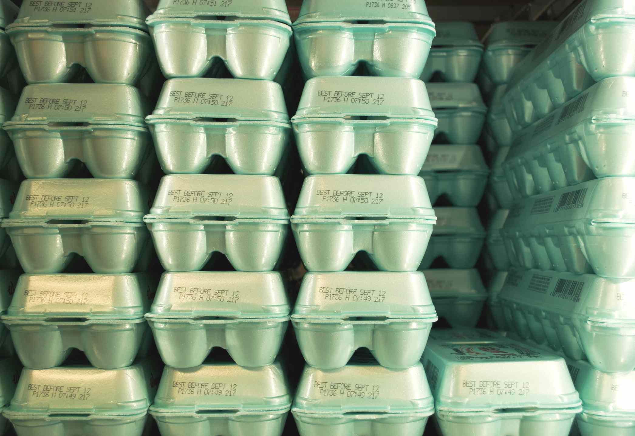 Full Frame Shot Of Stacked Polystyrene Egg Cartons