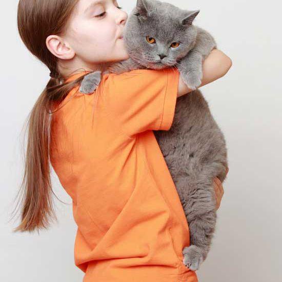 child cuddling unhappy cat