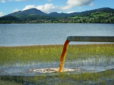 Water pollution flowing into a lake