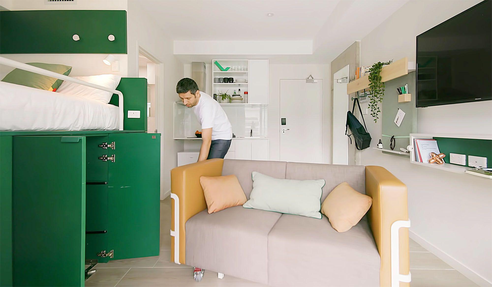 UKO stanmore coliving micro-apartment Mostaghim Associates sofa