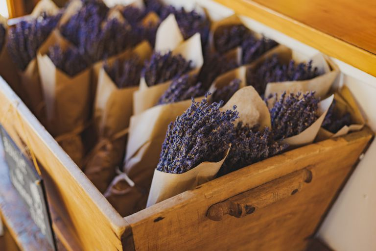 dried lavender in individual brown paper sachets in wooden box